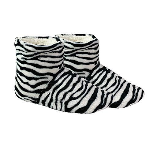 Mojawo Kuschelige Hausschuhe Motiv Zebra Hausstiefel Antirutsch Hüttenschuhe Plüsch und rutschfeste Sohle in Größe 38/39
