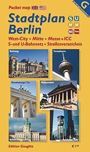 Stadtplan Berlin (Miniplan): Mitte, West-City, Messe + ICC, S- und U-Bahnnetz, Straßenverzeichnis