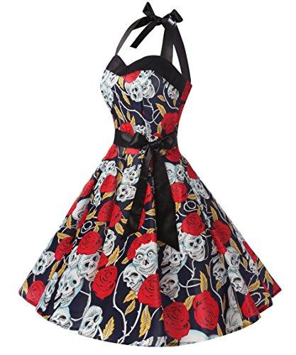 Dresstells Neckholder Rockabilly 50er Vintage Retro Kleid Petticoat Faltenrock Navy Skull Dot L -