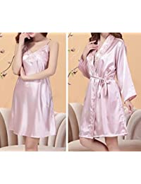 OGTOP La Sra Verano Camisones De Alto Grado Seda Vestido Traje De Una Pieza Seda Bordado Mujer Pijamas Batas Albornoces,3-XL