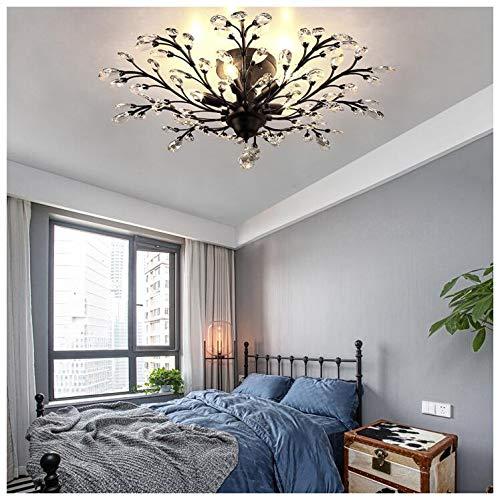 Deckenleuchte Kreative Wohnzimmer Amerikanischen Land Crystal Branches Chandelier Deckenleuchte,Unterputzleuchte Mit(Ohne Lichtquelle),Black-4Heads -