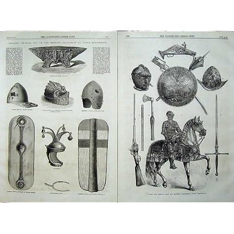 Caballo del Escudo del Casco de la Armadura de los Brazos de Meyrick Kensington 1869 [Cocina y Hogar]