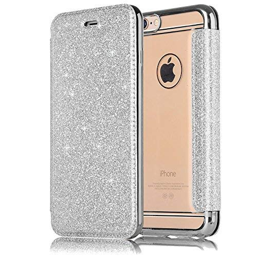 Sycode Luxus Silber Buchstil Überzug Weich Zurück Cover mit Glänzend Glitzer Pu Leder Flip Brieftasche für iPhone 6 4.7/6S 4.7 Zoll-Silber