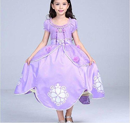 ncess Sophia Kostüm Cosplay Halloween Geburtstag Party Kleid Fancy Kleid lila, violett (Violett Halloween-kostüm)