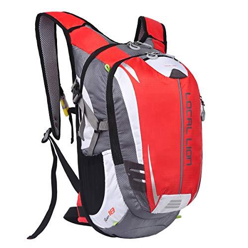 LOCAL LION Fahrradrucksack Trinkrucksack Reiserucksack Sportrucksack Tagesrucksack Alltags Daypacks Backpack Outdoor Ultraleicht Unisex 18L, Rot