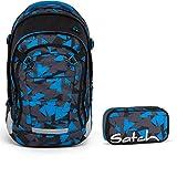 Satch MATCH by Ergobag Blue Triangle 2-tlg. Set Schulrucksack + Schlamperbox - Wächst mit bis 180cm Körpergröße!