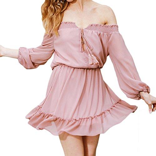 Damen Langarm Kragen Trägerlos Loose Volant Kleid Minikleid Chiffonkleid Spitzenkleider Freizeitkleid Cocktailkleid Skaterkleid Rosa