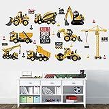 Wallpark Travaux Véhicules Garçons Jouet Ingénierie Camion Tracteur Amovible Stickers Muraux Autocollants, Enfants Bébé Chambre Pépinière DIY Décoratif Adhésif Stickers Mural