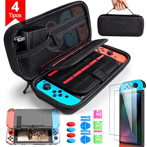 14 en 1 Kit de Accesorios Compatible con Nintendo Switch, Bangting Con 1PCS Funda de transporte 1PCS Transparente Carcasa 2PCS kit de Cristal Templado 4PCS Pulgar Grips Compatible con Nintendo Switch
