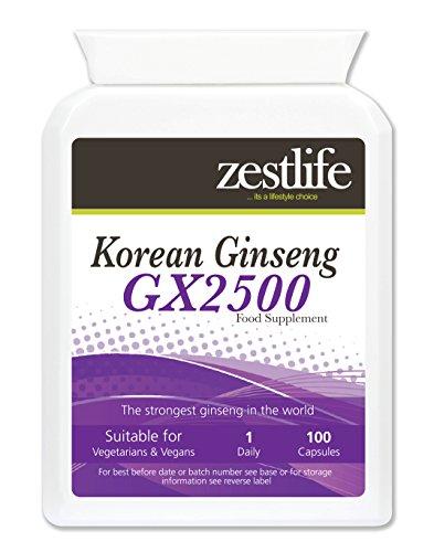 Zestlife coréen (Panax) Ginseng GX2500 / 100 Capsules | Le Tonic rajeunissant qui favorise la vitalité et l'endurance. * Sur Offre spéciale *