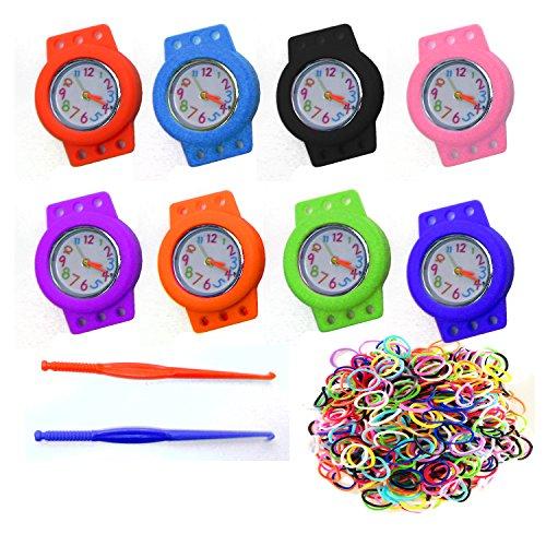 Stylische Loom Bands Uhren Bunt Gummi Uhr Gummi Bänder Armbanduhr Basteln LB06 (babyblau)