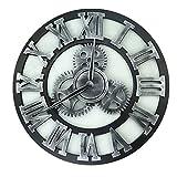 Shsyue® Retro Wanduhr, Ultraleise Kreative Uhr Wanddekoration für Dekoration Home Office Bar Cafe, 40cm (Silber)