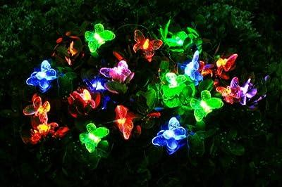 Solar Lichterkette, Schmetterling, wechselnde Farben, 20 LEDs Butterfly von GOODBUY24 bei Lampenhans.de