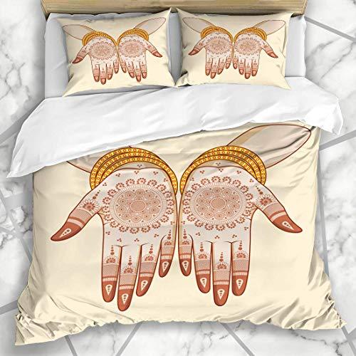 Soefipok Bettwäschesets Mehndi Indische Braut Mehandi Hand Ethnische Henna Mehendi Armreifen Zeremonie Hindu Design Braut Mikrofaser Bettwäsche mit 2 Kissenbezügen