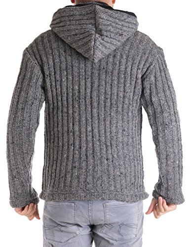 Vishes – Alternative Bekleidung – Gestrickte Herren Winter Wolljacke mit abnehmbarer Kapuze und Fleece gefüttert Grau