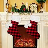 Boao 2 Stück 20 Zoll Plaid Weihnachten Strümpfe mit Schnee Weiß Kunstpelz Manschetten Weihnachtsferien Urlaub Strümpfe Geschenksack für Weihnachten Urlaub Haus Dekoration (Rot Plaid Strumpf)