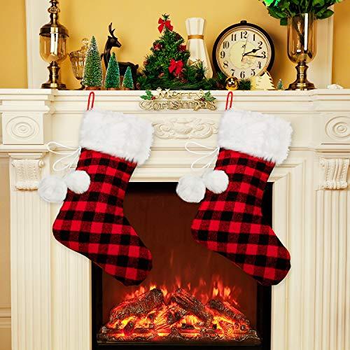 2 Piezas 20 Pulgadas Medias Navidad Piel Falso Blanco