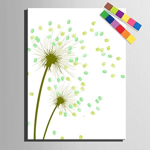 Personalizzato delle impronte digitali stampe su tela pittura - verde tarassaco (include 12 inchiostro FColors) , blank ,
