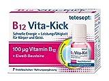 tetesept B12 Vita-Kick Trinkampullen – Ergänzungsmittel mit hochdosiertem Vitamin B12 & Eiweißbausteinen - Himbeergeschmack – 1er Pack mit 7 Trinkfläschchen [Nahrungsergänzungsmittel]