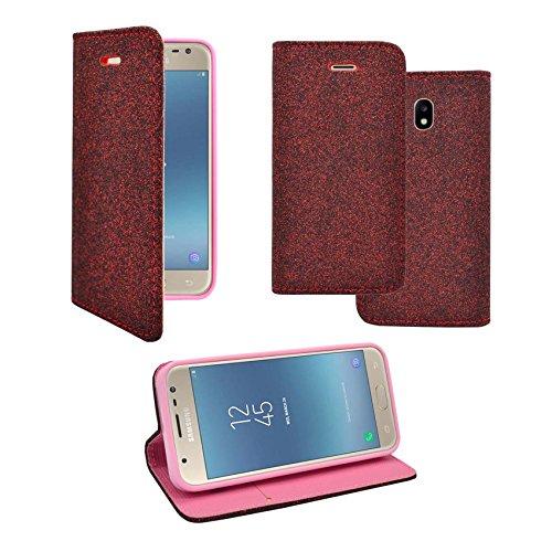 Preisvergleich Produktbild Kompatibel mit Samsung Galaxy J3 2017 Case Dunkelrot Design Kunstleder Buch Flip Tasche Case Hülle