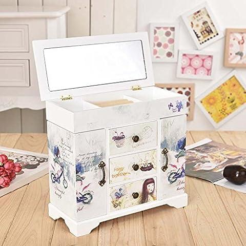 MJEL High-end legno 4 cassetto 2 porte gioielli cosmetici contenitore...
