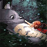 ufengke® Niedlich Mein Nachbar Totoro DIY Digitale Ölgemälde Malen Nach Zahlen Kit 40 X 50Cm Gestreckt und Gerahmt Fertig zum Aufhängen an der Wand