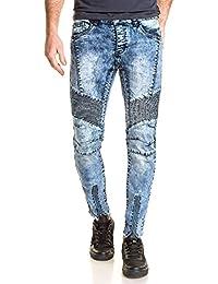 BLZ jeans - Jeans homme bleu délavé nervuré zips et déchiré aux chevilles