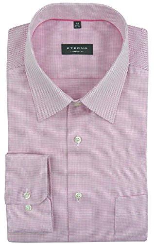 eterna Langarm Hemd Comfort Fit Natté Strukturiert pink/weiss
