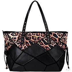 LI&HI Bolso De Las Señoras Shopper Negro Superlight Leopardo Bolso Grande