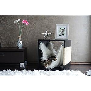 Kratz die Katz Design – Kratzbaum/Kratzwürfel/Katzenmöbel/Beistelltisch/in Schwarz (Hochglanz)