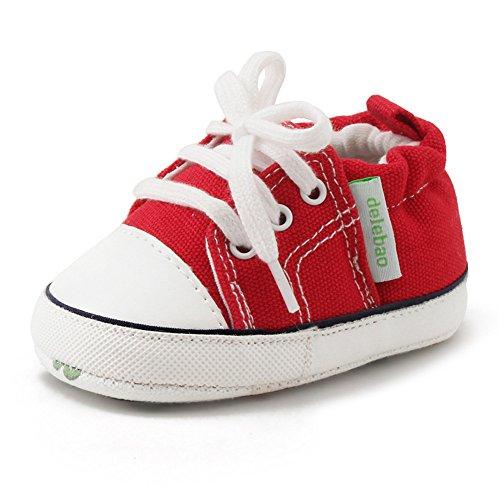 DELEBAO Krabbelschuhe Lauflernschuhe Erste Wanderer Schuhe Baby Segeltuchschuhe Weiche Sohle Babyschuhe Säuglingskleinkind für Baby Mädchen Baby Jungen (Rot,9-12 Monate)