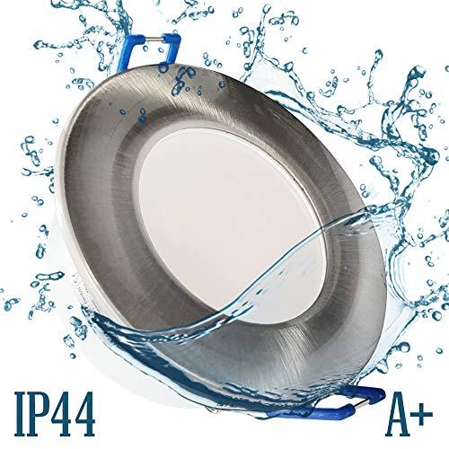 6x IP44 LED Bad Einbaustrahler 230V sehr flach 5,5W RUND Eisen-gebürstet Edelstahl-OptikEinbauspot Einbauleuchte Einbaulampe Deckenlampe Deckenstrahler Dusche