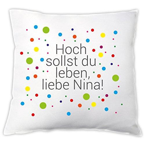 """Kissen """"Hoch sollst du leben"""" mit Name, Zierkissen, Geschenkidee, Geburtstagsgeschenk, Geschenk zum Geburtstag, Geschenk für Sie / Ihn"""