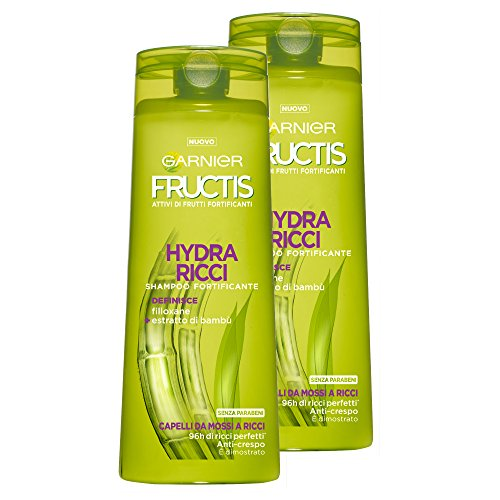 Garnier Fructis Shampoo Hydra Ricci con Filoxan ed Estratti di Bambù per Capelli da Mossi a Ricci, senza Parabeni - Confezione da 2 Unità