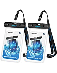 Funda Impermeable iPhone 7 6s 6 Plus Huawei P9 Bq Aquaris x5 Xiaomi Samsung Moviles, Mpow Bolso Sumergible Waterproof Case Transparente, IPX8 Certificado para Móvil Universal Hasta 7 Pulgadas, 2 Fundas