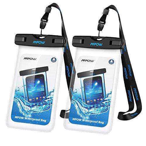 Funda Impermeable iPhone 7 6s 6 Plus Huawei P9 Bq Aquaris x5 Xiaomi Samsung Moviles, Mpow Bolso Sumergible Waterproof Case Transparente, IPX8 Certificado para Móvil Universal Hasta 7 Pulgadas, 2 Fundas