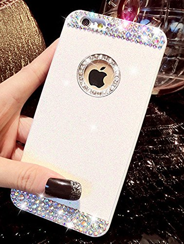 Custodia iPhone 6 Glitter, iPhone 6S Cover Silicone, SainCat Cover per iPhone 6/6S Custodia Silicone Morbido, Custodia Bling Glitter Strass Diamante Rhinestones 3D Design Ultra Slim Silicone Case Ultr Bianco