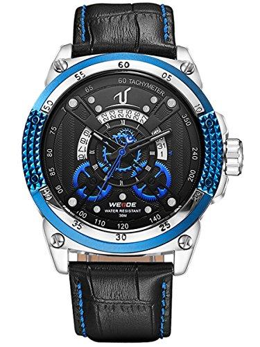 Alienwork Orologio quarzo XXL Oversized quarzo sport Cuoio blu nero WD.UV1605-3 - Pelle Tourbillon Cronografo