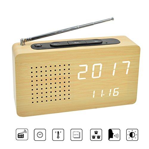 Radio-réveil bois