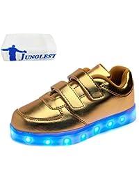 [Present:kleines Handtuch]Gold EU 28, USB Charing weise LED Schuhe Kinder Luminous Unisex mit leuc