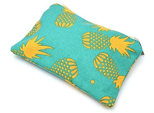 Oh My Shop ATM06 - Trousse à Maquillage Pochette Rangement Tissu Imprimé Ananas Jaune/Bleu-Vert