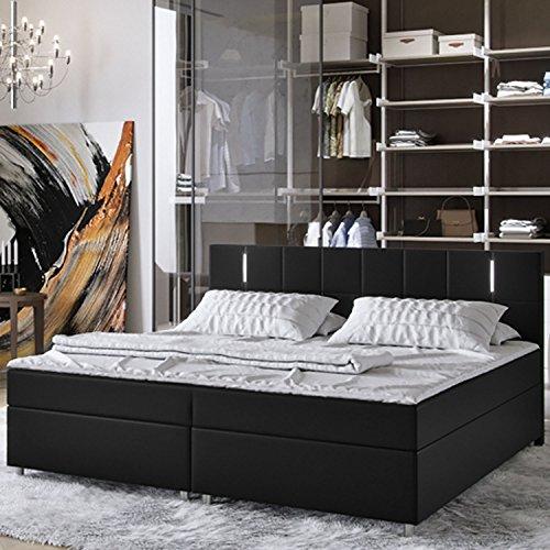 ArtLife Boxspringbett Cleveland 180 x 200 cm (schwarz) – Premium-Doppelbett mit Kunstleder inkl. Bonell-Federkernmatratzen, Kopfteil, LED-Beleuchtung & Topper