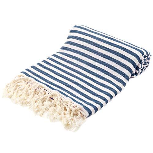 Fringe home asciugamani di turchi, teli mare, asciugamani da spiaggio turco, asciugamani da bagno hamam, pestemal, 100 x 180cm, 100% cotone naturale (blu marino, 1)