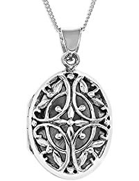 Ornami Ladies' Silver Filigree Oval Locket with 18-inch Curb Chain