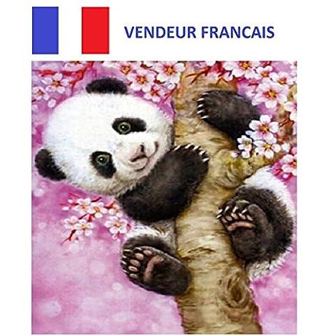 5D Broderie diamant toile entière, kit complet VENDEUR FRANÇAIS (panda sur l'arbre 30 x 35)