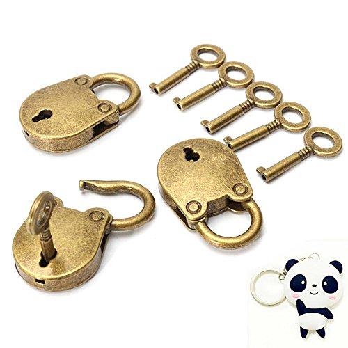 Set von 3 Stk Vintage Antik Stil Mini Vorhängeschlösser von GOOTRADES, Kupfer Schlüssel Schloss Plus Freier Panda Schlüsselanhänger Vintage Vorhängeschloss