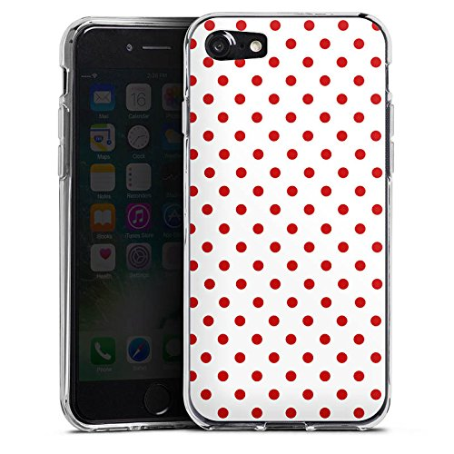 Apple iPhone 6s Hülle Case Handyhülle Muster Polka Punkte Weiß Rot Silikon Case transparent
