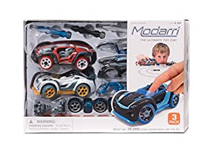 Modarri 3 Pack Track Cars Set - Build Your Car Kit Toy Set - Multi Color Ultimate Toy Car Educational Gift Toys for Kids
