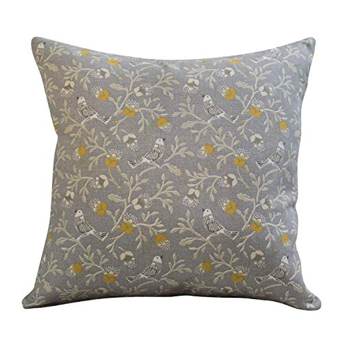 The Coastal Cushion Company Dainty Songbird Gris Ocre Jaune Double Face Housse de Coussin. 43,2 x 43,2 cm carré Coque. Fait à la Main. Style Vintage Design Contemporain.