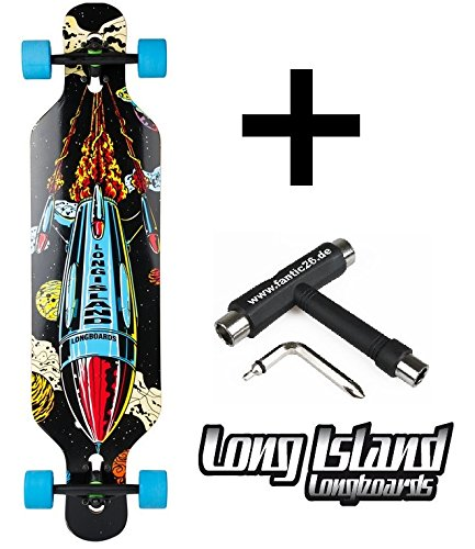 Long Island-Longboard Rocket Drop Through Twin Tip + fan tic26Skate Tool